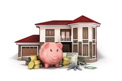 Concept of savings to buy a house money pig dollar bills in stac. Ks house 3d render on white Stock Photos