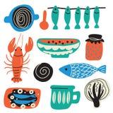 Concept scandinave de nourriture Illustration tirée par la main, faite dans le vecteur Écrevisses, cuvette, poisson, chou, confit illustration stock