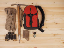 Concept. scene expedition in retro style. On wood background Stock Photography