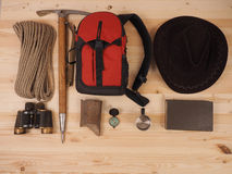 Concept. scene expedition in retro style. On wood background Stock Image