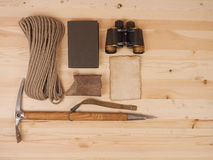 Concept. scene expedition in retro style. On wood background Royalty Free Stock Images