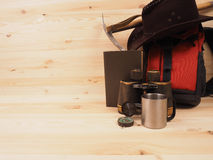 Concept. scene expedition in retro style. On wood background Royalty Free Stock Photography