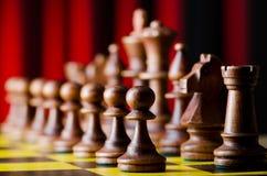 Concept schaak met stukken Stock Foto