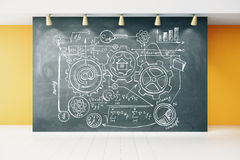 Concept scheme on blackboard in empty room with white wooden flo Stock Photography