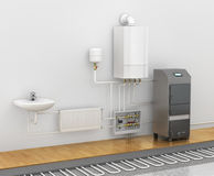 Concept of the scheme of the heating system. Stock Photo