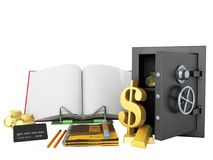 Concept of school and education economy economy 3d render on whi Royalty Free Stock Photo