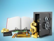 Concept of school and education economy economy 3d render on blu Royalty Free Stock Photo