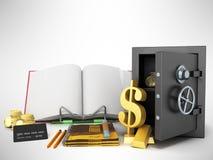 Concept of school and education economy economy 3d render on gra Stock Photos