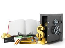 Concept of school and education economy economy 3d render on whi Stock Images
