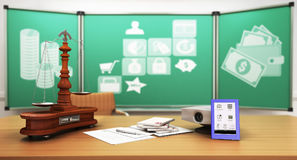 Concept of school and education economy notebook projector 3d re Stock Photo