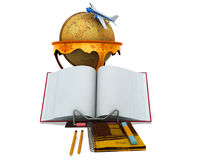 Concept school and geography education globe 3d render plane on. White Royalty Free Stock Photos