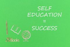 Text self education success, school supplies wooden miniatures on green background. Concept school for kids, text self education success, school supplies wooden Stock Photos