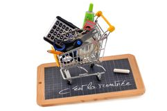 Concept of school supplies purchases for back to school royalty free stock image