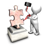 Concept of sculptor creating THE jigsaw piece Royalty Free Stock Images