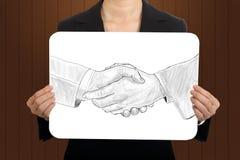 Concept se serrant la main de croquis d'exposition de femmes d'affaires Images stock