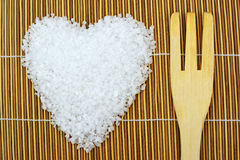 Concept with sea salt and fork Royalty Free Stock Photography