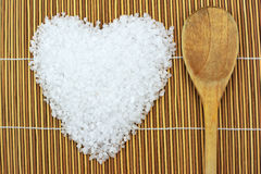 Concept with sea salt and spoon Stock Photo