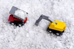 Concept of sea salt transportation industry. The truck raw salt. Or pile of salt from natural in farm royalty free stock photos