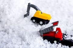 Concept of sea salt transportation industry. The truck raw salt. Or pile of salt from natural in farm royalty free stock images