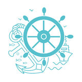 Concept of seafaring icon. Concept of seafaring in the form of sea rudder, anchor, ship. Icon in the linear style Stock Photography
