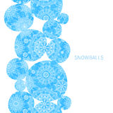 Concept seamless border with snowballs. Stock Image