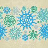 Concept seamless border with snowflakes. Royalty Free Stock Photo