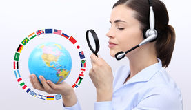 Concept search, customer service operator woman with headset, gl Stock Image