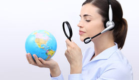 Concept search, customer service operator woman with headset Stock Images