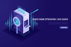 Concept of search engine optimisation and data search. Magnifying glass with server rack. 3d Isometrick style. Concept of search engine optimisation and data stock illustration