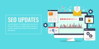 Seo updates, search engine optimization, marketing, analytics concept. Flat design vector banner. Concept of search engine optimization update, data analysis vector illustration