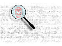The concept of search in hex code, malicious code. Web search. A magnifying glass looking for Royalty Free Stock Photography