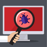 Concept of searching bugs and viruses Stock Photos