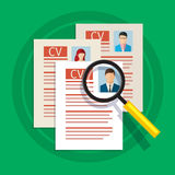 Concept of searching professional staff. Analyzing personnel resume, recruitment, human resources management, work of hr. Flat design, vector illustration Royalty Free Stock Image