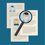 Concept of searching professional staff. Flat design colored vector illustration concept of searching professional staff, analyzing personnel resume, recruitment Royalty Free Stock Photos