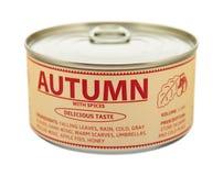 Concept of seasons. Autumn. Tin can. Royalty Free Stock Photos