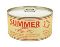 Concept of seasons. Summer. Tin can. Stock Photography