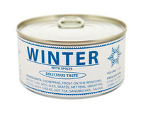Concept of seasons. Winter. Tin can. Royalty Free Stock Image
