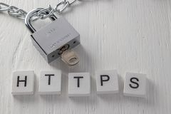 Concept of a secure connection to web site. Communication privacy Stock Image