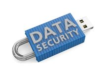Concept for secure data storage. Locked USB device depicting the security of data on portable storage devices Royalty Free Stock Images