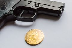 The concept of security of crypto currency and crimes with crypto currency royalty free stock images