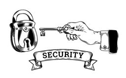 Concept of security - hand with key opens, closes the lock Royalty Free Stock Images
