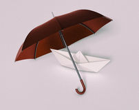 Concept of security. One paper boat under an umbrella, concept of security and protection (3d render Royalty Free Stock Image