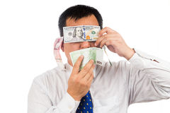 Concept of see, speak, hear no evil with money Royalty Free Stock Photo