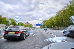 Concept of self-driving car Stock Photos