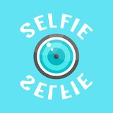 Concept of selfie with lense. Isolated on blue background. flat style trendy modern eps10 vector illustration Royalty Free Stock Photography