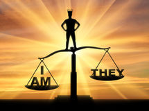 Concept of selfishness and narcissistic person. Silhouette of a man with a crown, standing on the scales of justice chooses his interests Royalty Free Stock Images