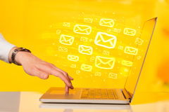 Concept of sending e-mails Royalty Free Stock Photos