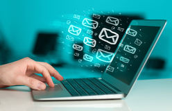 Concept of sending e-mails Royalty Free Stock Image