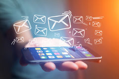 Concept of sending email on smartphone interface with message ic Stock Images