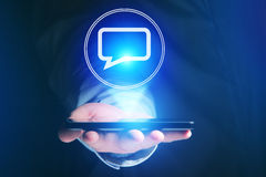 Concept of sending email on smartphone interface with message ic Stock Photos